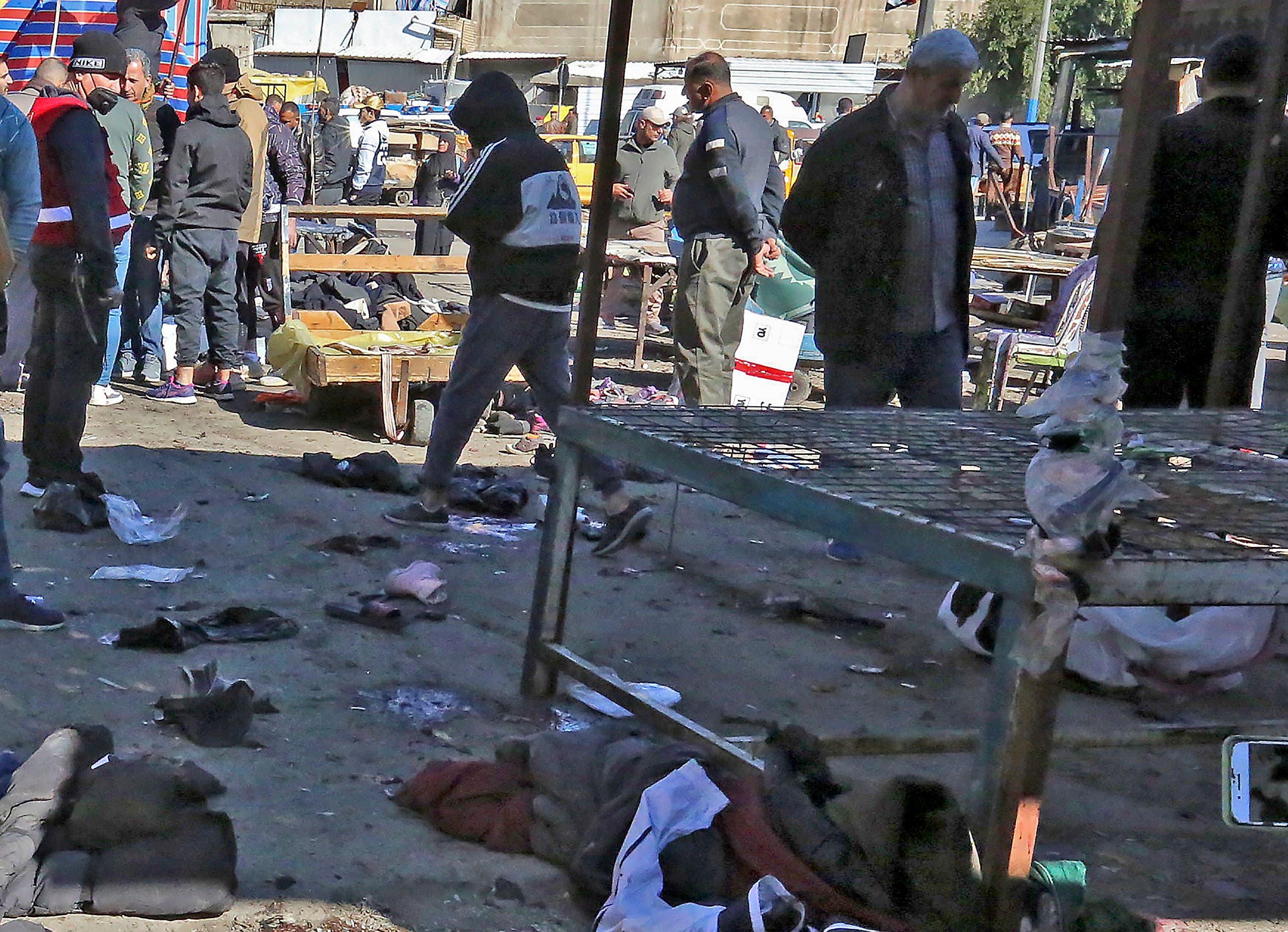 من موقع الهجوم في بغداد يوم 21 يناير