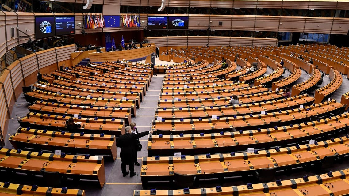 A picture shows the EU parliament in Brussels during a plenary session. (AFP)