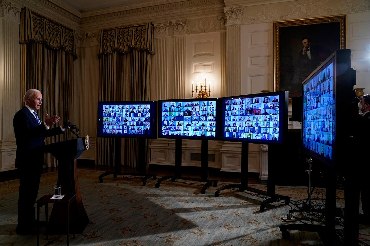 President Joe Biden speaks during a virtual swearing in ceremony of political appointees from the State Dining Room of the White House, Jan. 20, 2021. (AP)