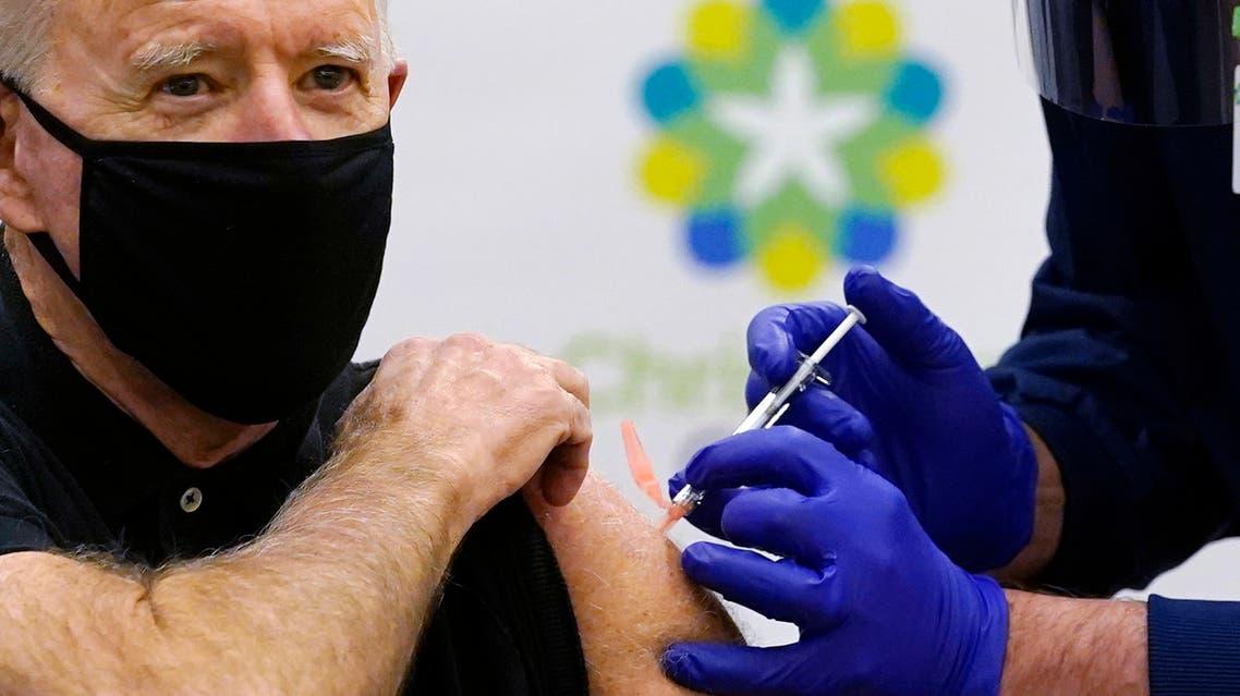 President Joe Biden receives his second dose of the coronavirus vaccine at ChristianaCare Christiana Hospital in Newark, Del., Monday, Jan. 11, 2021. (AP)