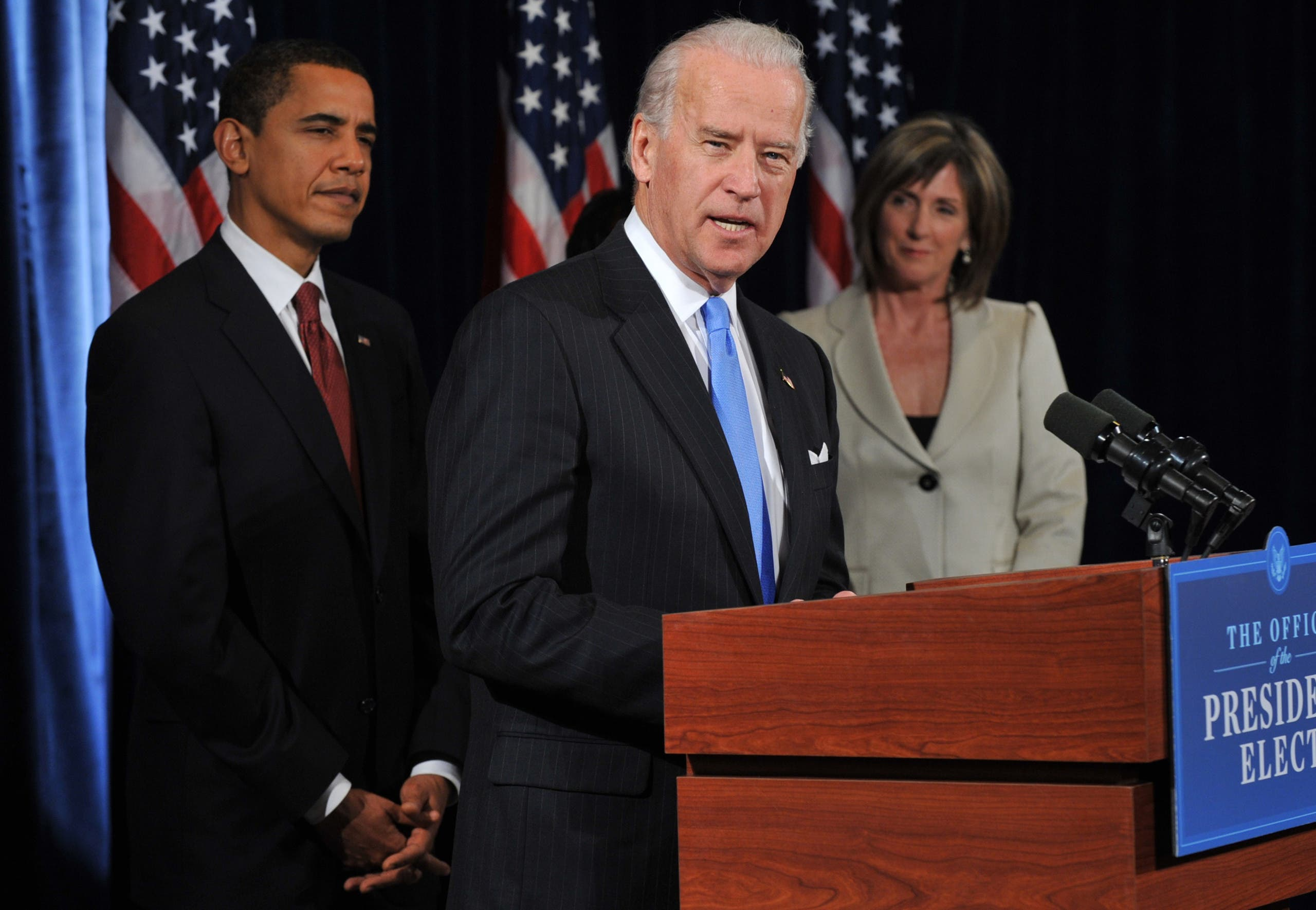 US President-elect Barack Obama (L) listens to Vice president-elect Joe Biden on December 15, 2008. The Biden administration might be taking lessons from the earliest days of the Obama administration.(Reuters)