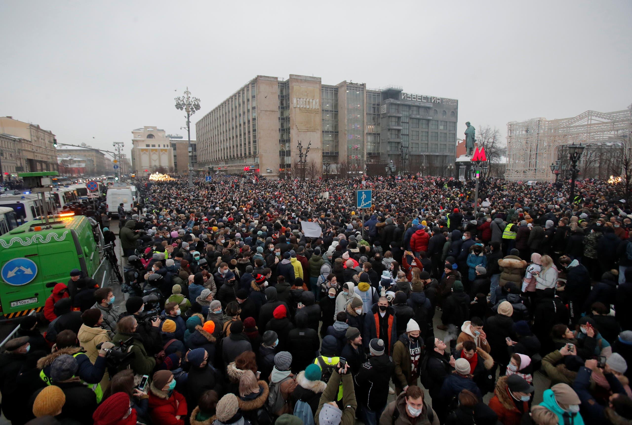 مظاهرة مؤيدة لنافالني في موسكو السبت