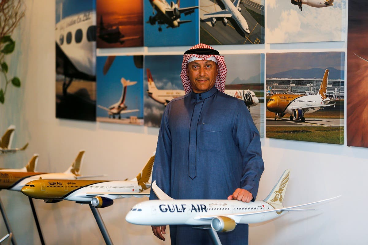 Acting Chief Executive Officer of Gulf Air, Captain Waleed Abdulhameed Al Alawi poses for photos during an interview at the company's headquarters in Muharraq, Bahrain, January 24, 2021. (Reuters/Hamad I Mohammed)