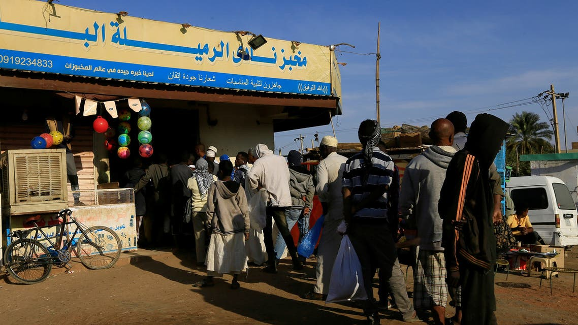 Customers queue to buy bread at a bakery in Khartoum, Sudan February 19, 2020. Picture taken February 19, 2020. REUTERS/Mohamed Nureldin Abdallah