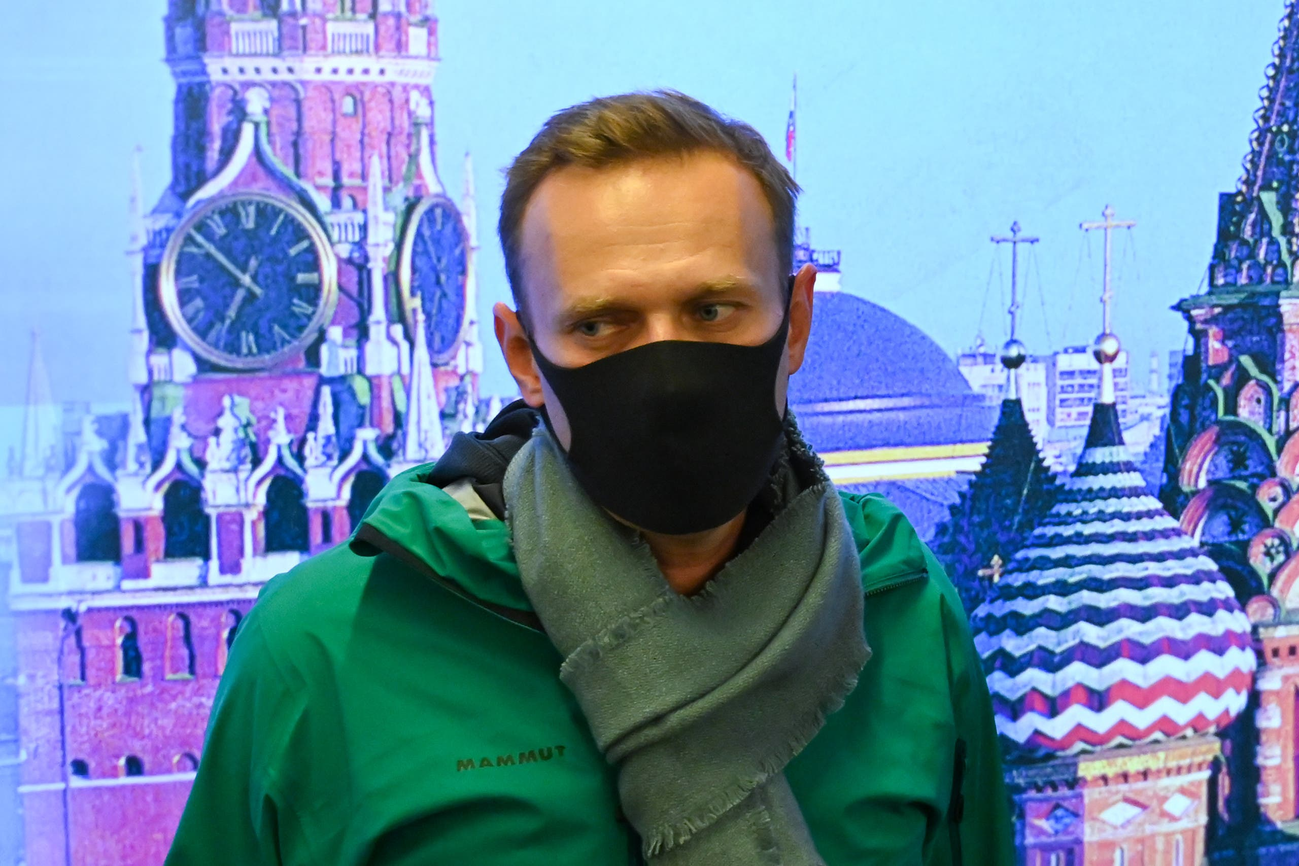 Russian opposition leader Alexei Navalny is seen at Moscow's Sheremetyevo airport upon the arrival from Berlin on January 17, 2021. (AFP)