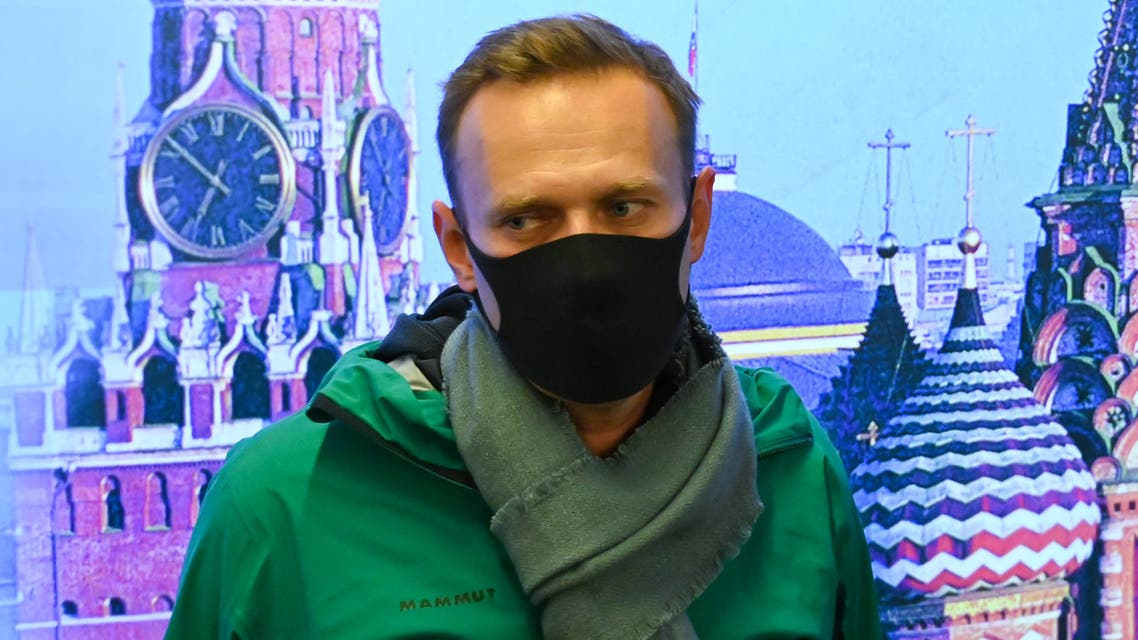 Russian opposition leader Alexei Navalny is seen at Moscow's Sheremetyevo airport upon the arrival from Berlin on January 17, 2021. Russian police detained Kremlin critic Alexei Navalny at a Moscow airport shortly after he landed on a flight from Berlin, an AFP journalist at the scene said.