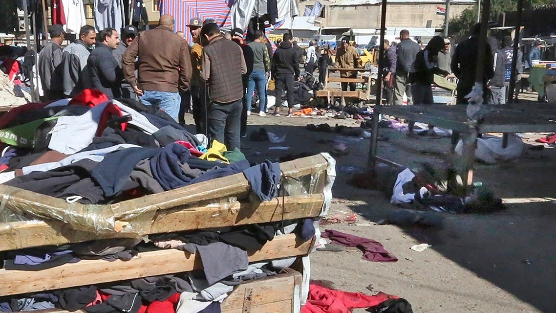 A picture shows the scene of a twin suicide bombing on a bustling commercial street in the heart of Baghdad on January 21, 2021. (Sabah Arar/AFP)