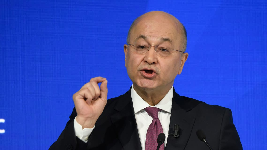 Iraqi President Barham Saleh delivers a speech at the World Economic Forum (WEF) annual meeting in Davos, on January 22, 2020.