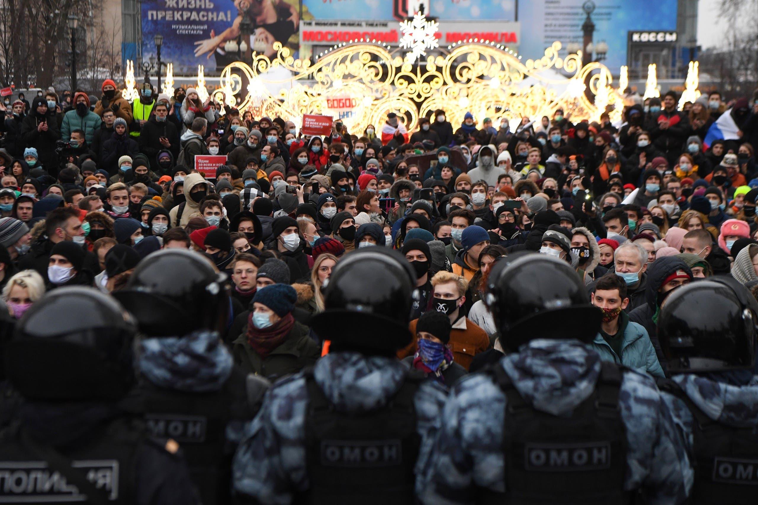 من الاحتجاجات في موسكو السبت