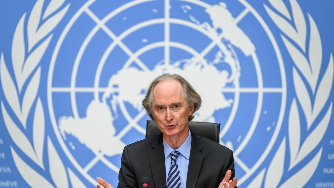 UN special envoy for Syria Geir Pedersen holds a press conference at the United Nations Offices in Geneva. (AFP)