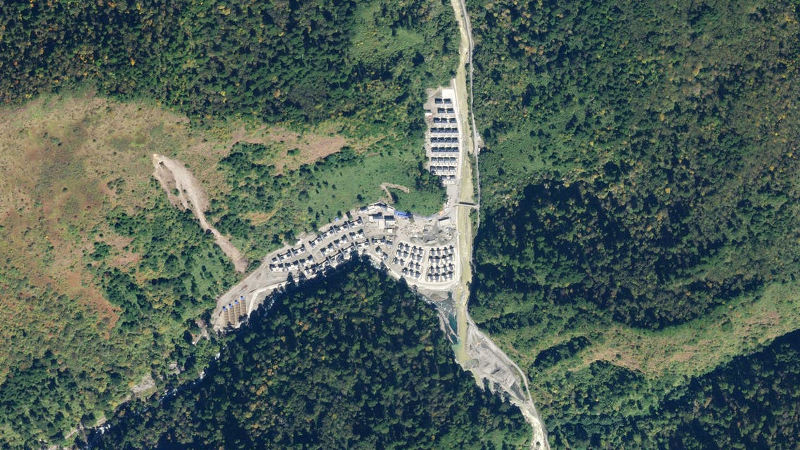 This handout satellite photo taken on November 1, 2020, obtained from Planet Labs, Inc. on January 20, 2021, shows a newly constructed Chinese village in an area along the disputed India-China border. (AFP)