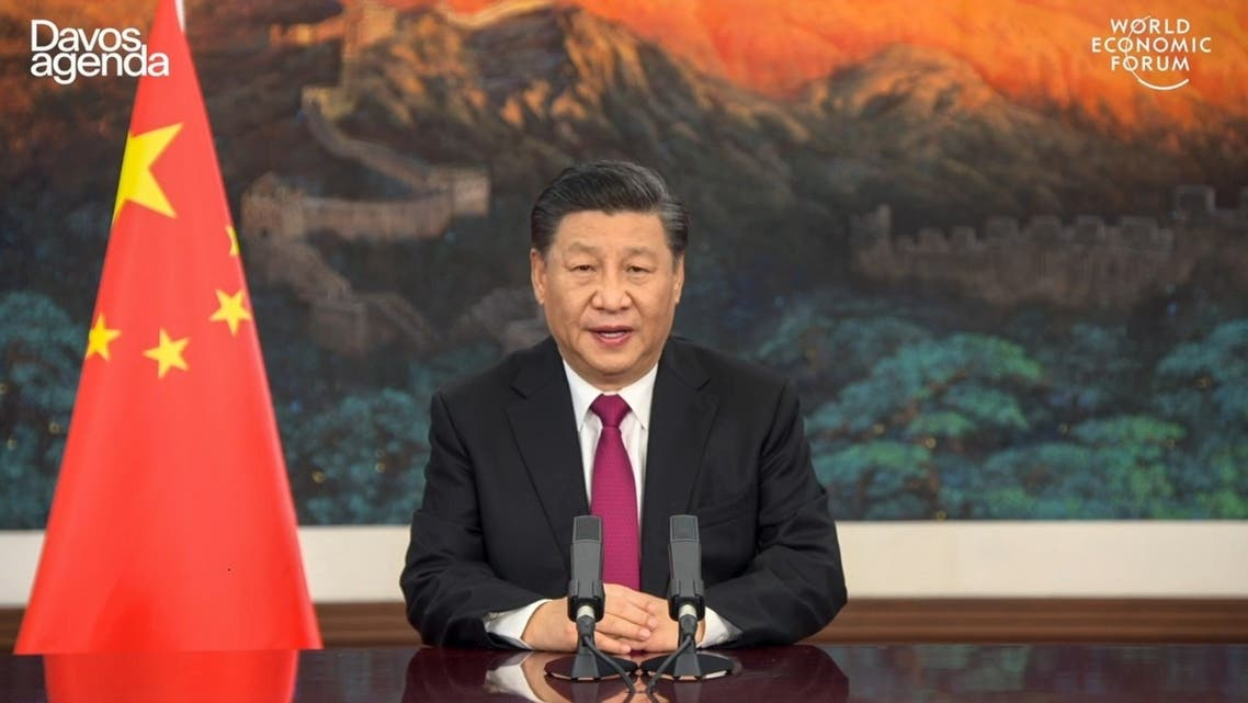 This video grab taken on January 25, 2021, from the website of the World Economic Forum shows China's President Xi Jinping speaking as he opens an all-virtual World Economic Forum. (World Economic Forum/AFP)