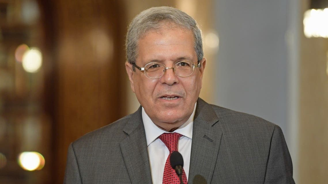 Tunisia's FM Othman Jerandi speaks during a press conference at Carthage Palace on the eastern outskirts Tunis on October 12, 2020. (Fethi Belaid/AFP)