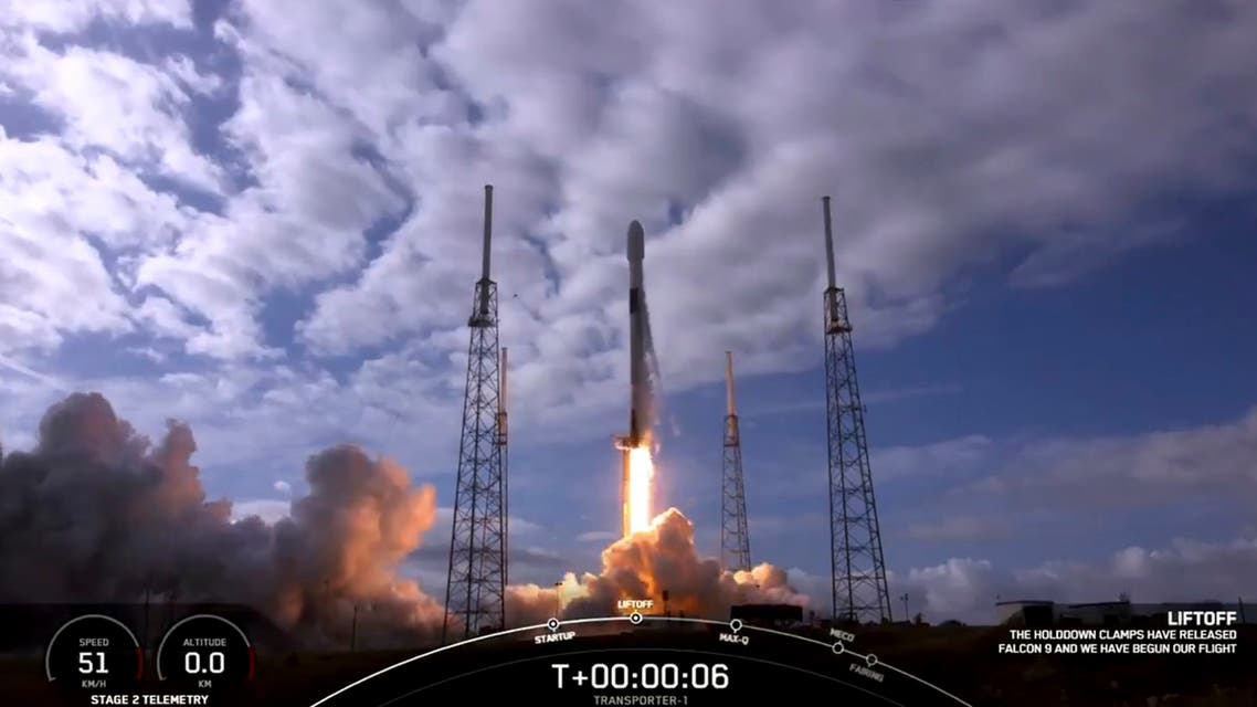 This Spacex handout video frame grab image obtained on January 24, 2021 shows the Spacex Falcon 9 liftoff in Cape Canaveral, Florida. Th SpaceX Falcon9 lifted a record-breaking number of satellites in a single payload when its Transporter-1 ride-share mission blasted off from Cape Canaveral, Florida at 7 a.m. PT (10 a.m. ET) on January 24, 2021. The launch was originally scheduled for December 2020 but was postponed several times, including from January 23, 2021, when weather pushed it back to January 24, 2021.
