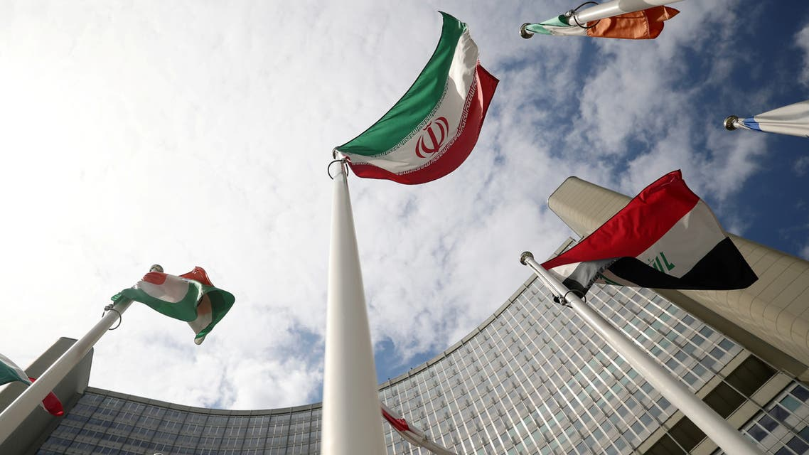 The Iranian flag flutters in front the International Atomic Energy Agency (IAEA) headquarters in Vienna, Austria July 10, 2019. REUTERS/Lisi Niesner