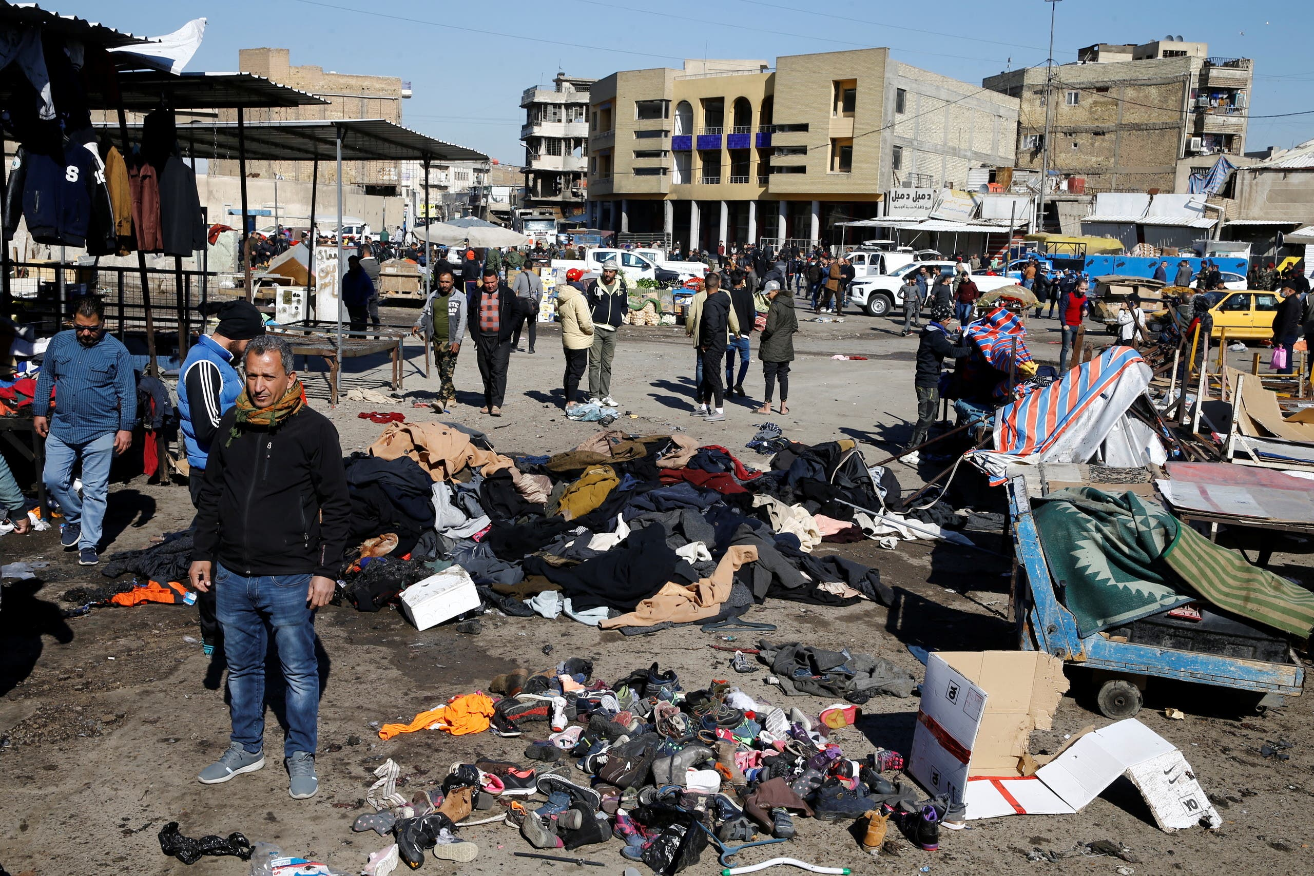 من مكان وقوع التفجيرين في بغداد