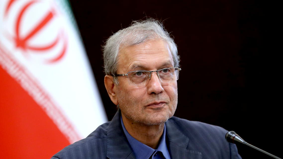 Iran's government spokesman Ali Rabiei speaks in a press briefing in Tehran, Iran. (AP)