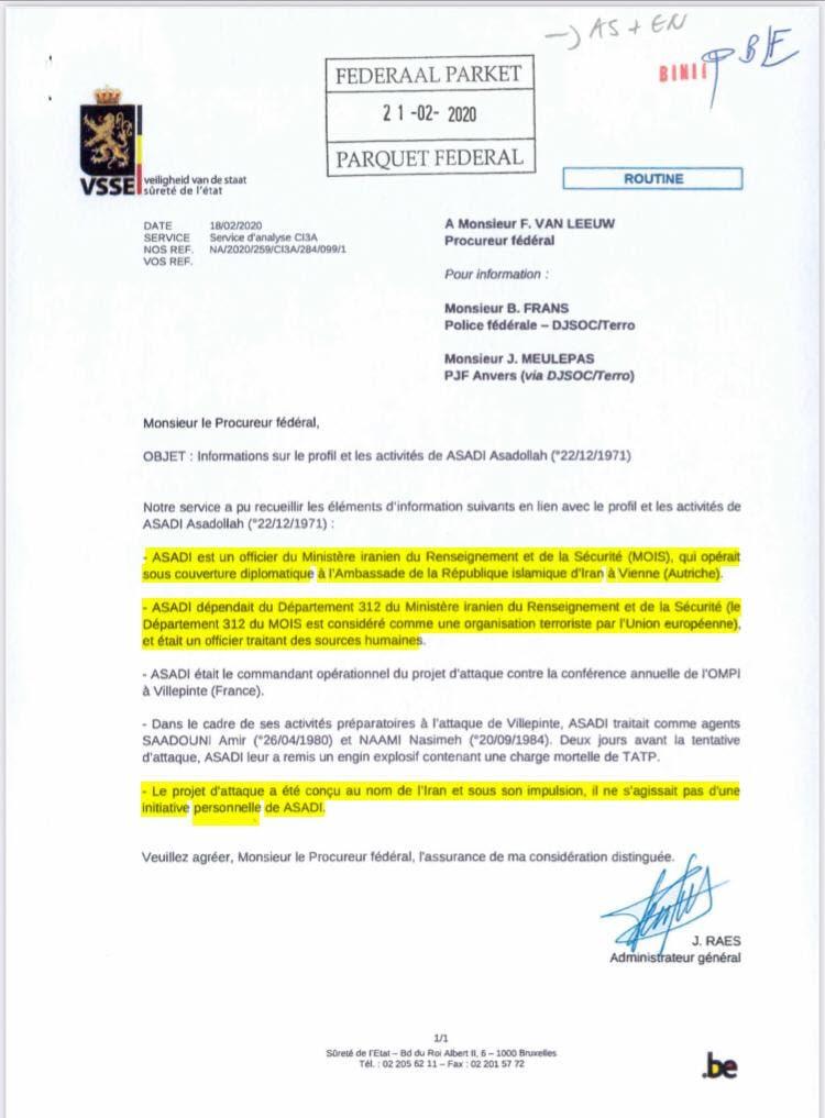 وثيقة من المحكمة البلجيكية تظهر أن أسدي تلقى أوامر من قادة النظام الإيراني