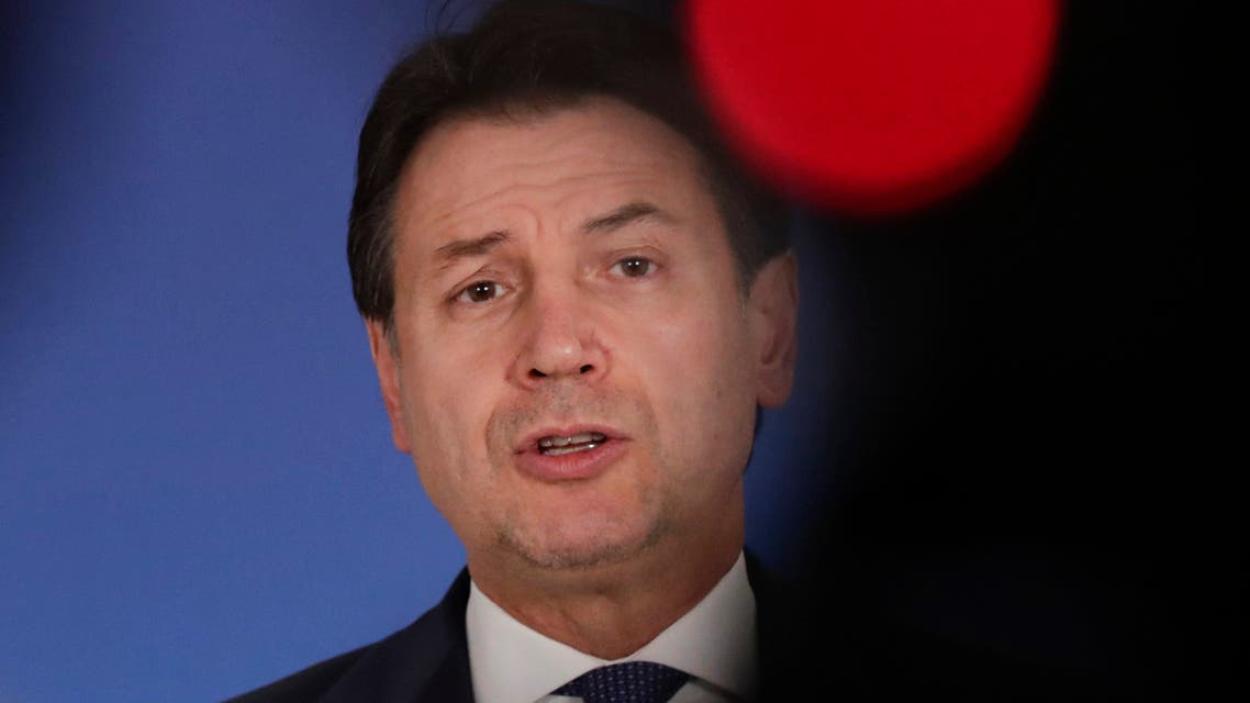 Italy's Prime Minister Giuseppe Conte addresses a media conference. (AP)
