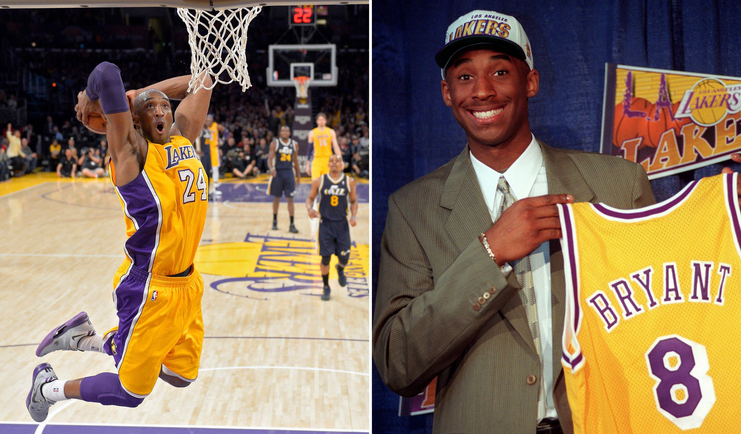 At left, in a Jan. 25, 2013, file photo, Los Angeles Lakers guard Kobe Bryant goes up for a dunk during the first half of an NBA basketball game against the Utah Jazz, in Los Angeles. At right, in a July 12, 1996, file photo, Kobe Bryant, 17, jokes with the media as he holds his Los Angeles Lakers jersey during a news conference in Inglewood, California. (AP)