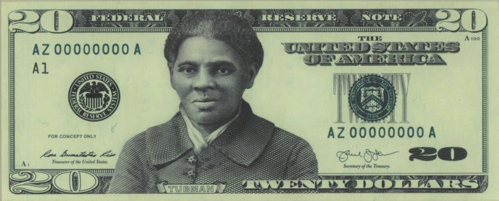 رسم تخيلي لورقة من فئة 20 دولاراً عليها صورة هارييت توبمان
