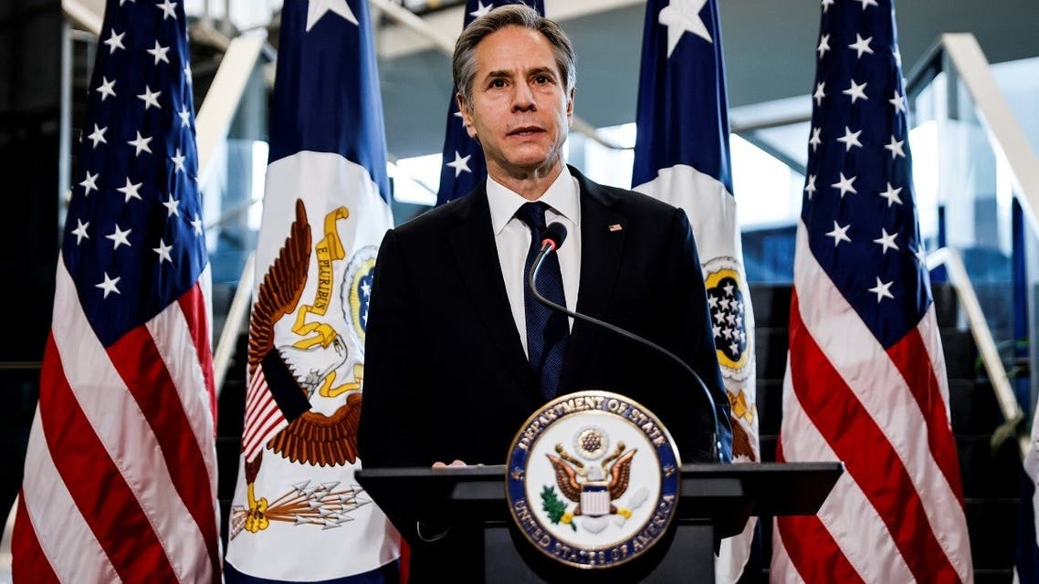 US Secretary of State Antony Blinken addresses a welcome ceremony after arriving at the State Department, Jan. 27, 2021. (Reuters)