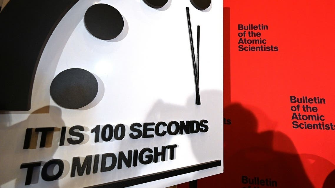 In this file photo taken on January 23, 2020 the Doomsday Clock reads 100 seconds to midnight during an announcement at the National Press Club in Washington, DC. (Eva Hambach/AFP)
