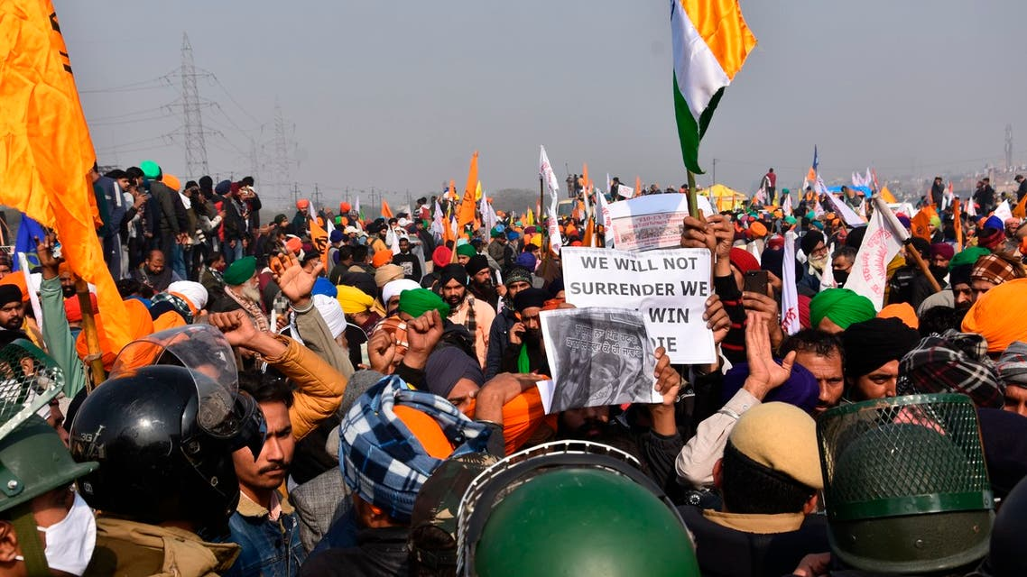 Protesting farmers march towards the country's capital during India's Republic Day celebrations in New Delhi, India, Tuesday, Jan. 26, 2021. (AP)