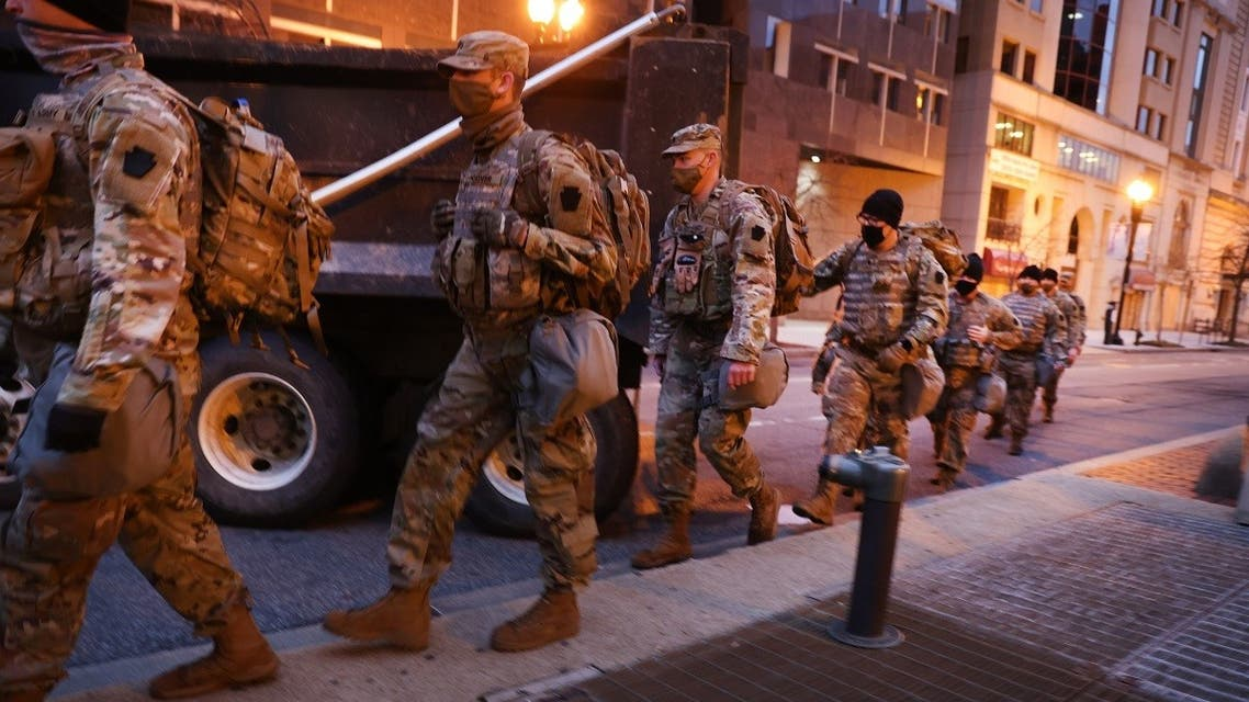 Members of the National Guard patrol the streets on Jan. 17, 2021 in Washington, DC. (AFP)