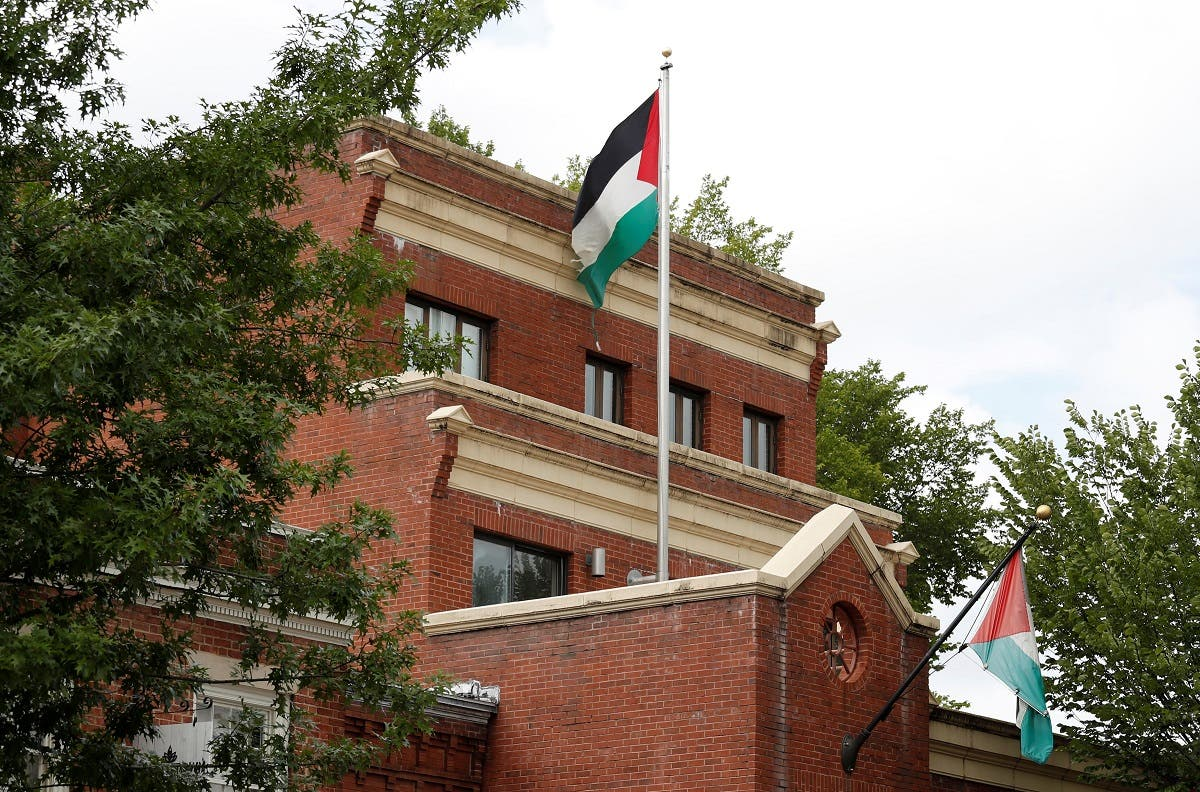 Flags fly over the PLO office two days after it was announced that the State Department would close the PLO office in Washington, Sept. 12, 2018. (Reuters)