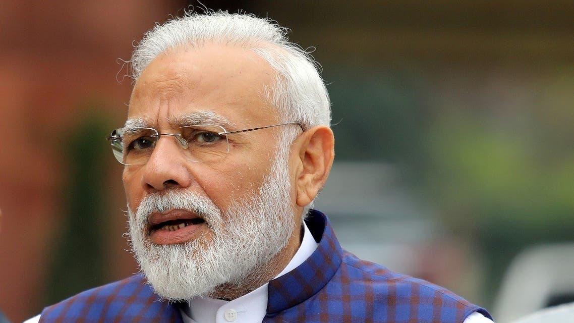India's PM Narendra Modi speaks to the media inside the parliament premises in New Delhi, India, Nov. 18, 2019. (Reuters)