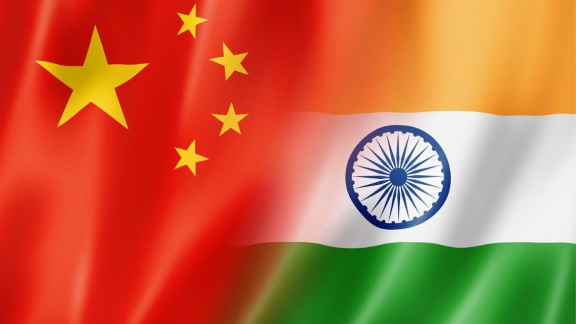 Conflict concept of India and China flag stock illustration