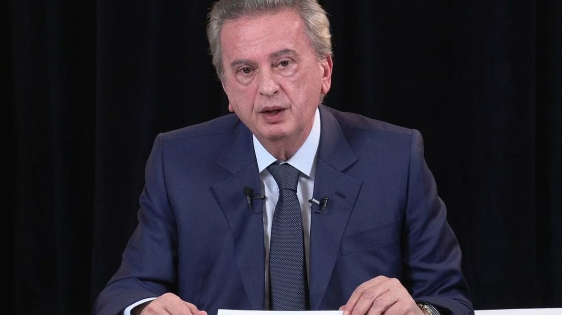 This image grab taken from a video published by Lebanon's Central Bank on April 29, 2020 shows Central Bank chief Riad Salameh giving a televised speech in Beirut. (AFP)