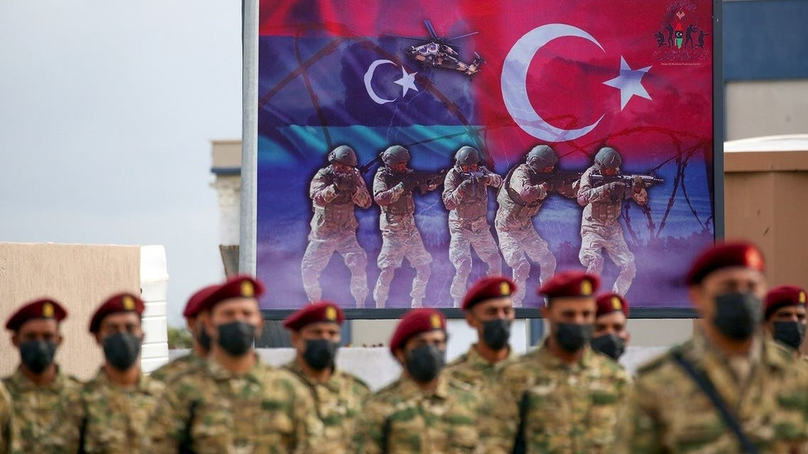 Libyan military graduates loyal to the Government of National Accord (GNA) after announcing a military training agreement with Turkey, in Tajoura, southeast of Tripoli on Nov. 21, 2020. (AFP)