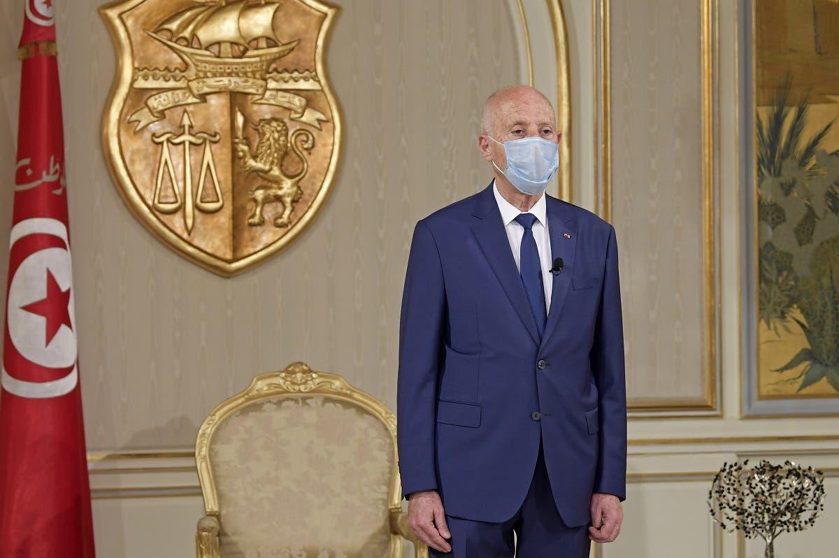 Tunisian President Kais Saied at Carthage Palace. (AFP)