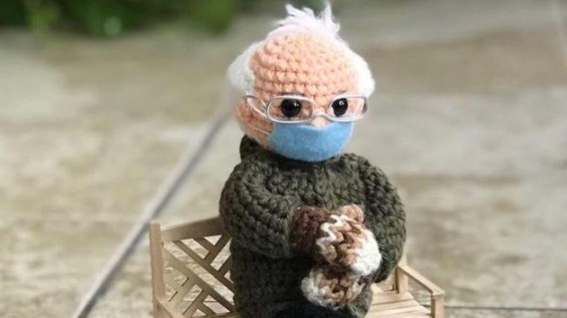 A crocheted doll version of Bernie Sanders. (Twitter)