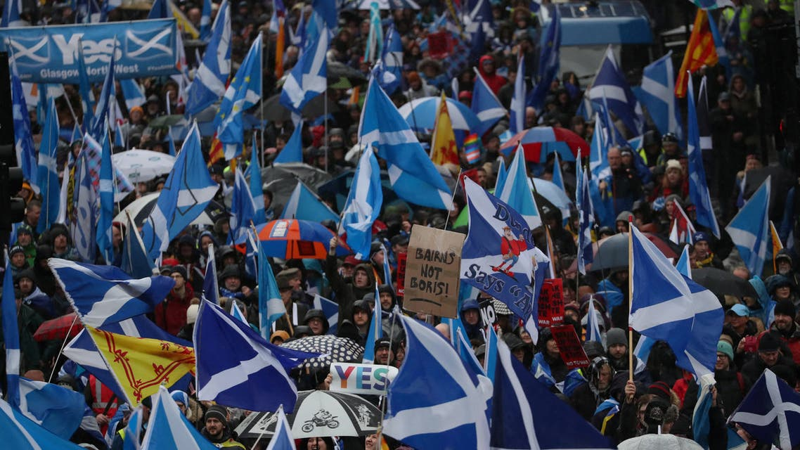 Demonstrators march for Scottish Independence through Glasgow City centre, Scotland, Britain January 11, 2020. (Reuters)