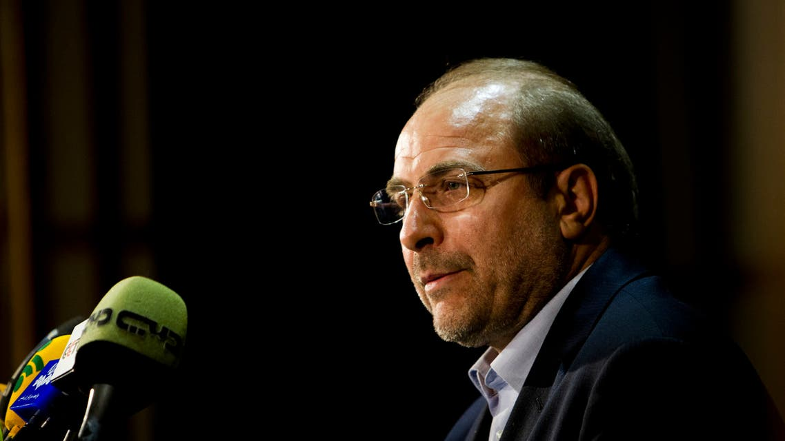 Parliament speaker Mohammad Baqer Ghalibaf speaks during a press conference. (AFP)