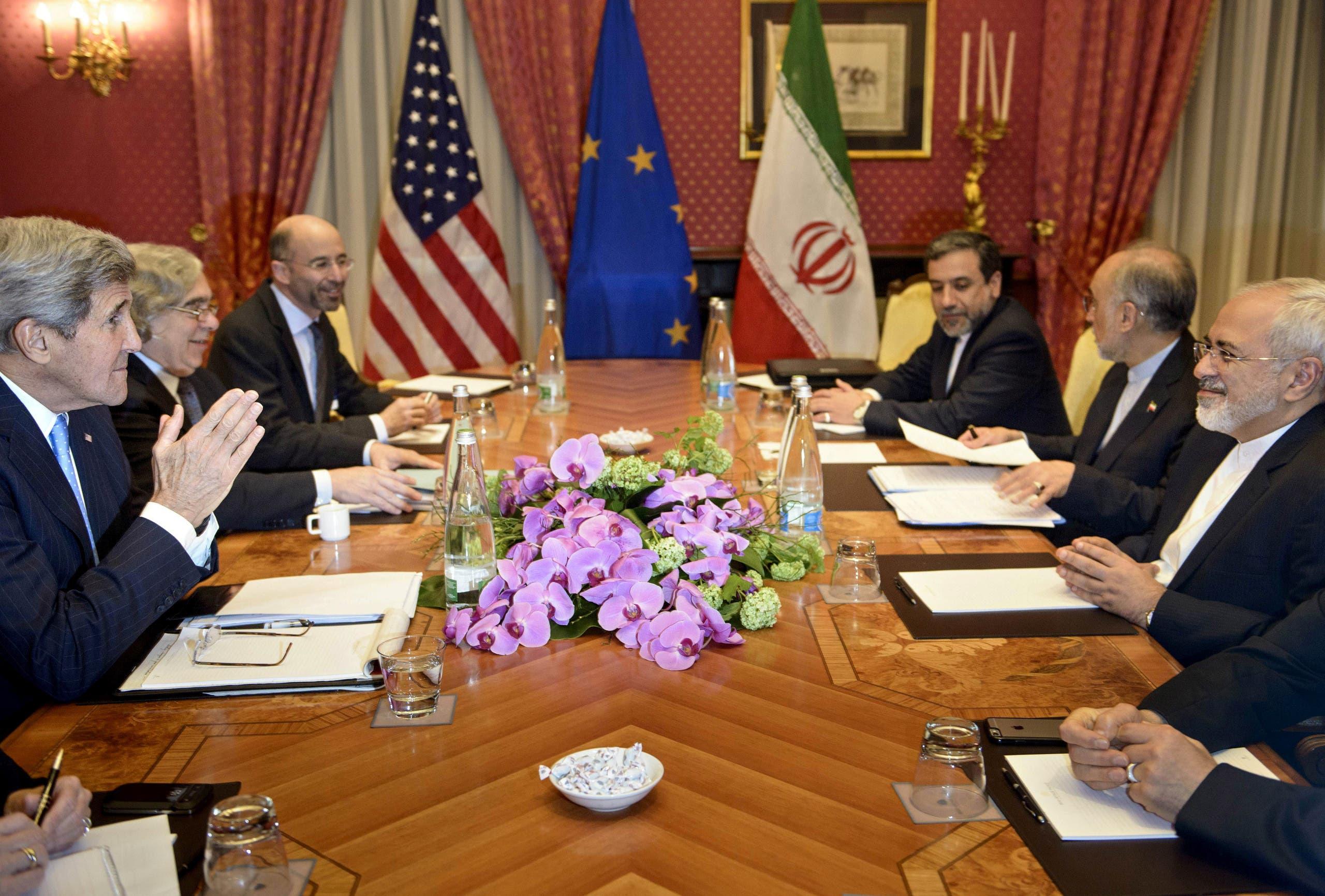 مالي خلال مشاركته باجتماع أميركي إيراني في لوزان في مارس 2015 تمهيداً للاتفاق النووي في عهد إدارة أوباما