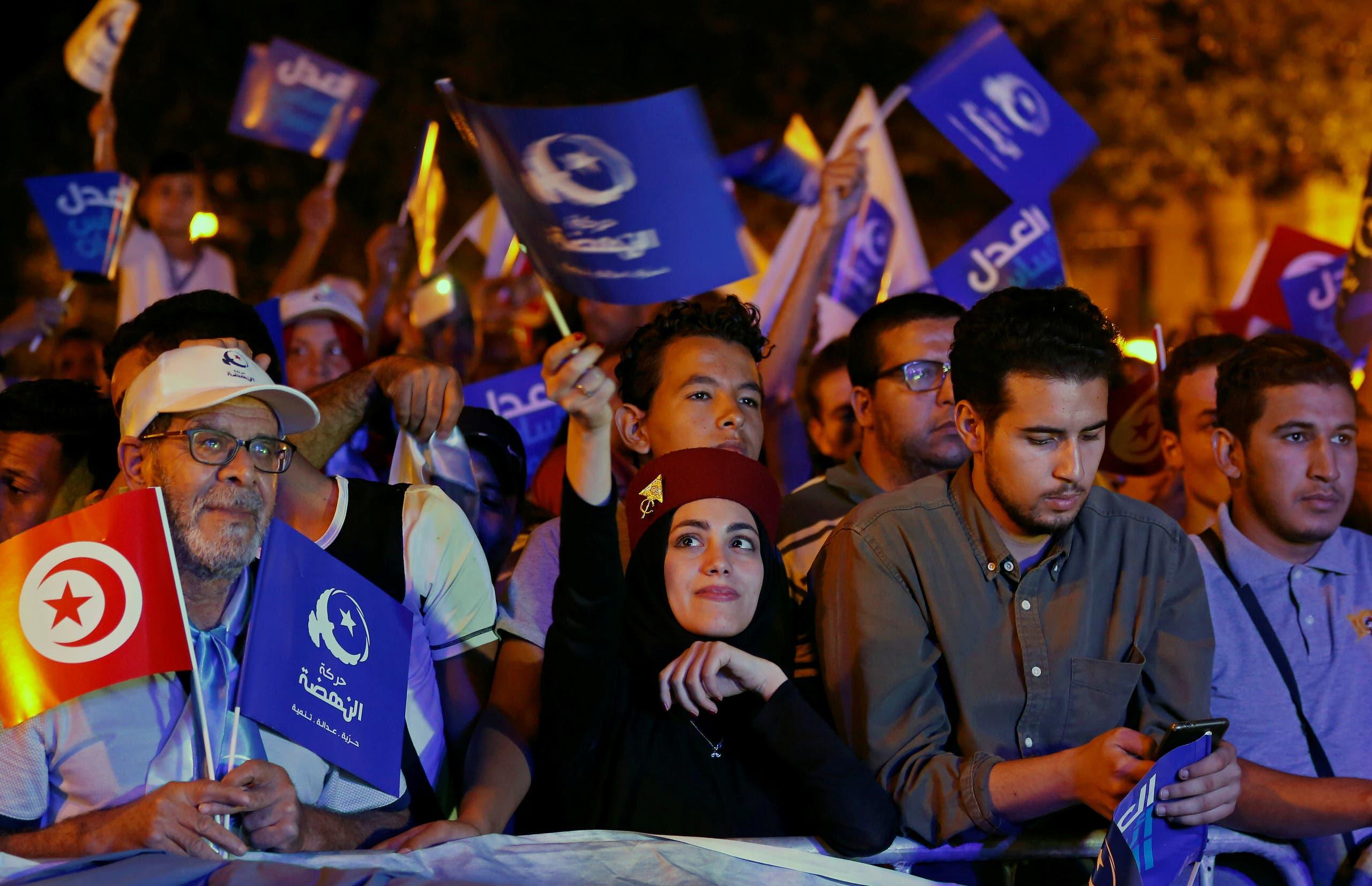 مناصرون للنهضة خلال تجمّع انتخابي في أكتوبر 2019
