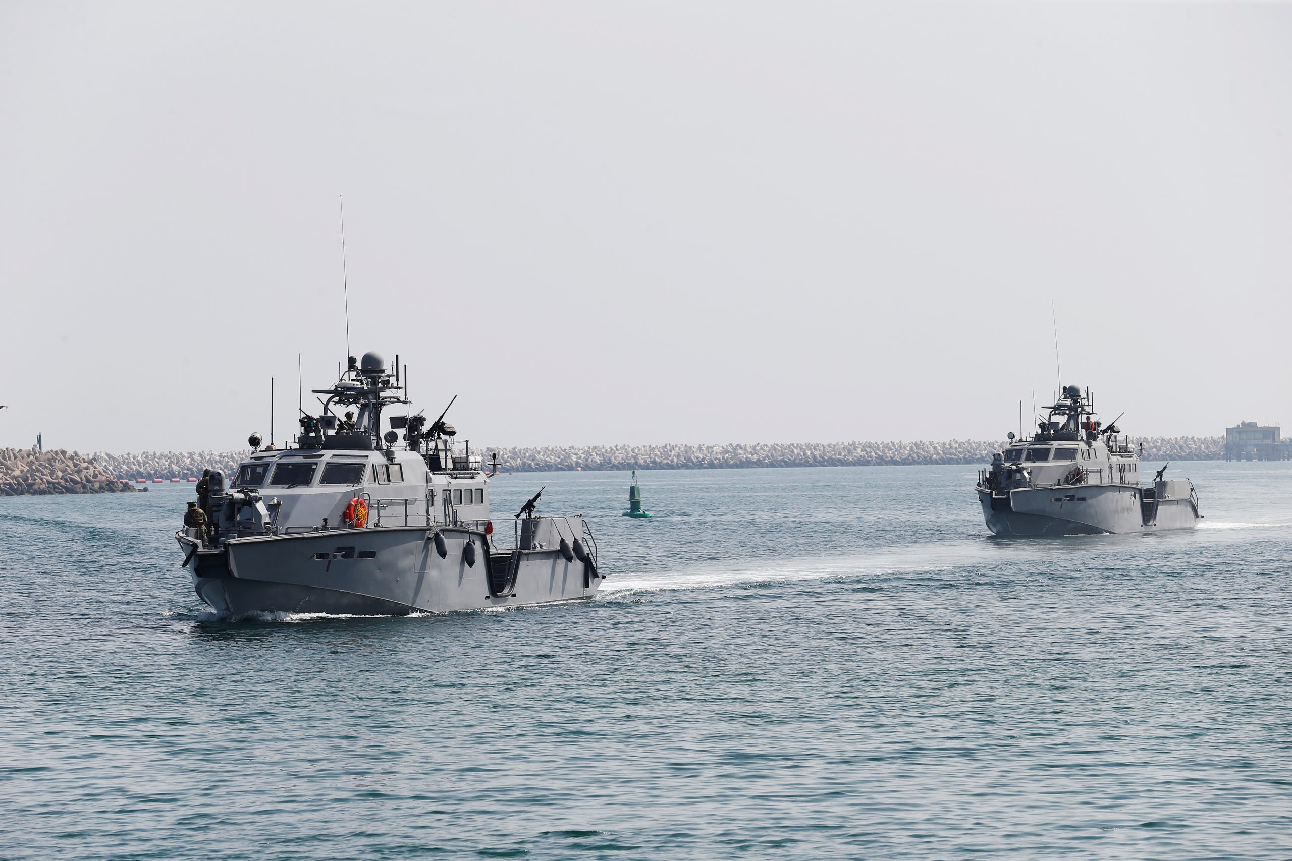 US Navy patrol boats arrive at Saudi Royal Navy, Eastern Fleet Headquarters, during mixed maritime exercise in Jubail. (File photo: Reuters)