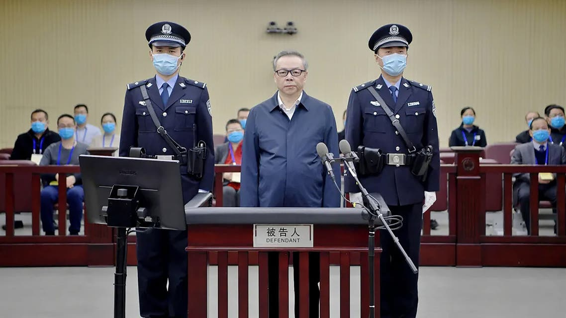 This photo, released by the Second Intermediate People's Court of Tianjin, shows Lai Xiaomin, former chairman of China Huarong Asset Management Co., at his court trial in Tianjin. (AFP)