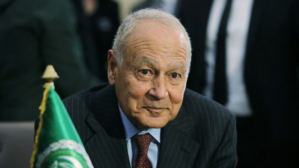 Arab League Secretary General Ahmed Aboul Gheit attends a meeting with Algeria's Foreign Minister Sabri Boukadoum (not pictured) in Algiers, Algeria February 29, 2020. REUTERS/Ramzi Boudina
