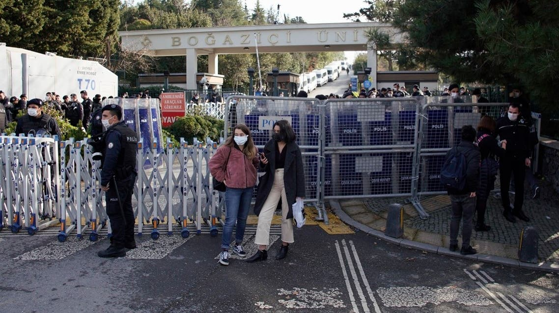 Police officers secure the entrance of Bogazici University in Istanbul, during a protest, January 6, 2021. (AP/Huseyin Aldemir)