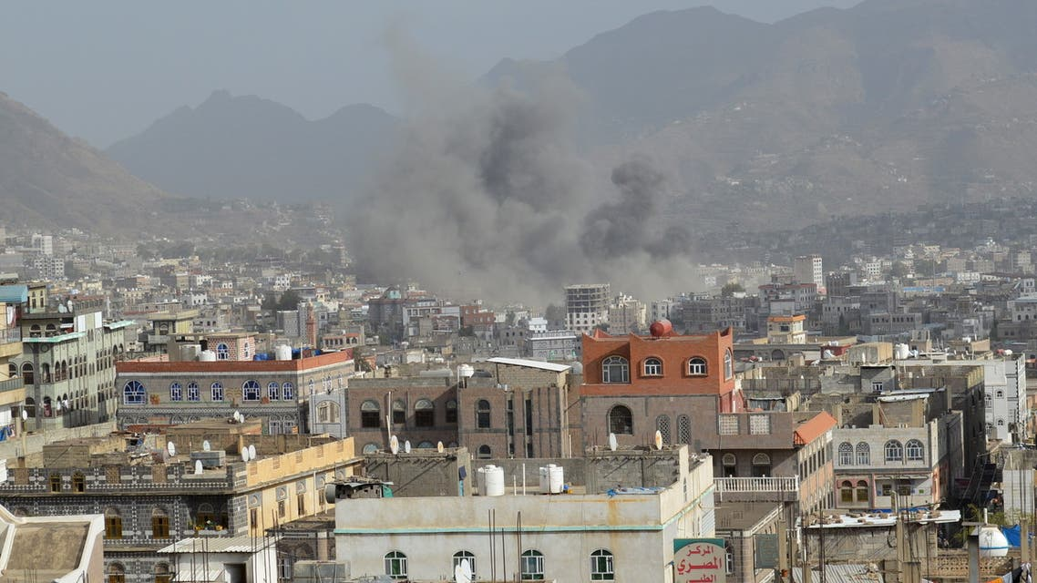 Smoke billows after an air strike in Yemen's central city of Ibb April 12, 2015. REUTERS/Stringer