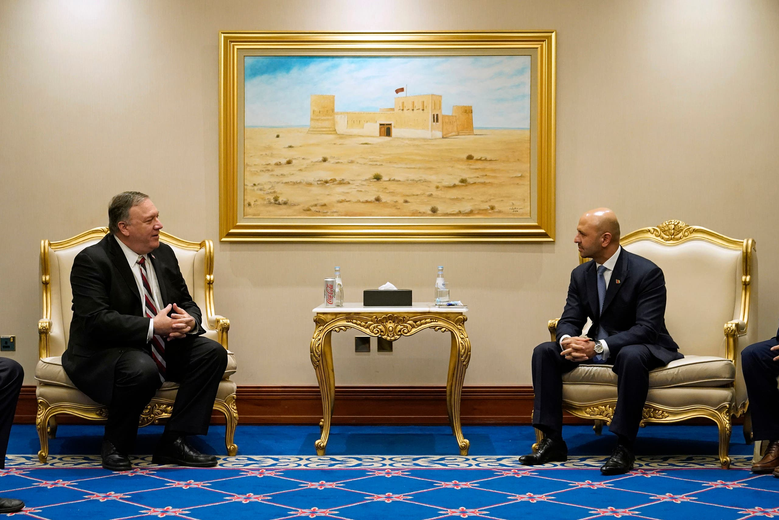 In this November 21, 2020 file photo, Secretary of State Mike Pompeo, left, meets with Afghanistan's State Minister for Peace Sayed Sadat Mansoor Naderi and the Islamic Republic of Afghanistan's peace negotiation team amid talks between the Afghan government and the Taliban, in Doha, Qatar. A Democratic senator called on the State Department to prioritize the return of Mark Frerichs. (AP)