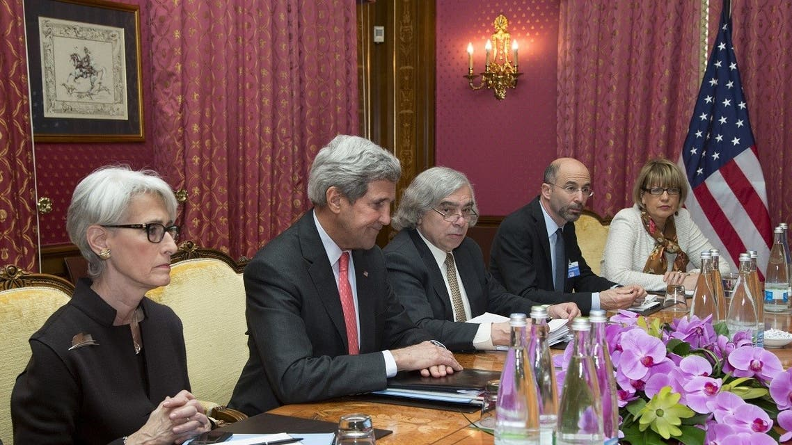 Robert Malley (2nd R) from the National Security Council in a meeting with EU Political Director Helga Schmid (R) for a meeting with Iran's Foreign Minister Javad Zarif, March 20, 2015. (Reuters)