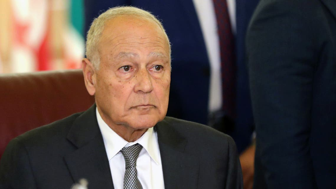 Arab League Secretary General Ahmed Aboul Gheit attends an emergency meeting with the Arab League's foreign ministers after U.S. President Donald Trump announced his Middle East peace plan, in Cairo, Egypt, February 1, 2020. REUTERS/Mohamed Abd El Ghany