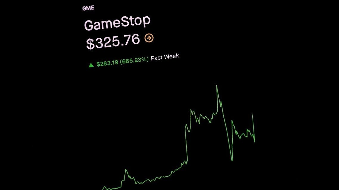 Trading information for GameStop is displayed on the Robinhood App in this photo illustration January 29, 2021. (Reuters)