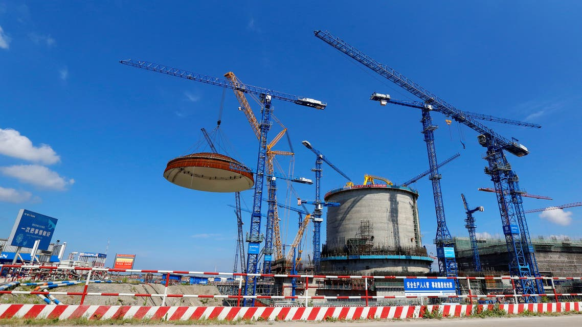 A dome is installed over a Hualong One nuclear power unit at Fangchenggang nuclear power plant in Guangxi Zhuang Autonomous Region, China May 23, 2018, in this picture provided by Fangchenggang nuclear power plant and released by China Daily. Picture taken May 23, 2018. China Daily via REUTERS ATTENTION EDITORS - THIS IMAGE WAS PROVIDED BY A THIRD PARTY. CHINA OUT.
